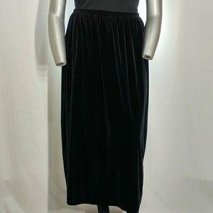 Vintage Black Velvet Stretchy Maxi Skirt, 2X